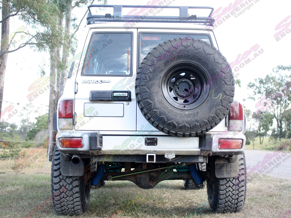 Rear view of a Nissan Patrol with 5 inch Profender Superflex suspension kit fitted