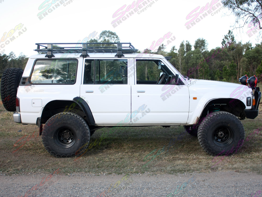 Side view of Nissan Patrol fitted out with 5 inch Profender Superflex lift kit