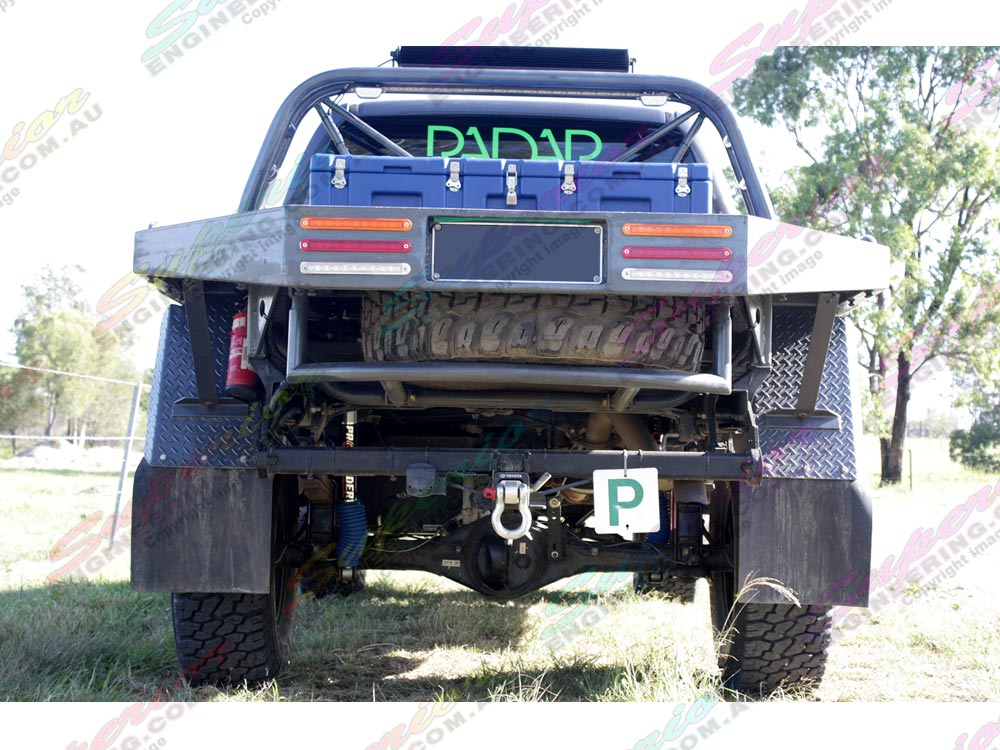 Rear view of Profender lift kit fitted to current model Toyota Hilux