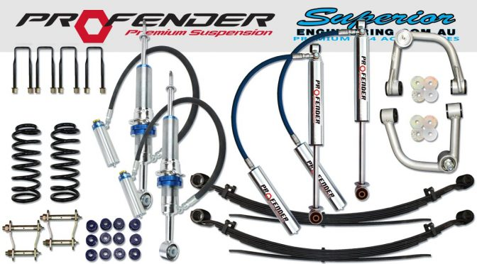 A complete 3 inch Profender 4x4 suspension kit feature image showing all the components in the kit