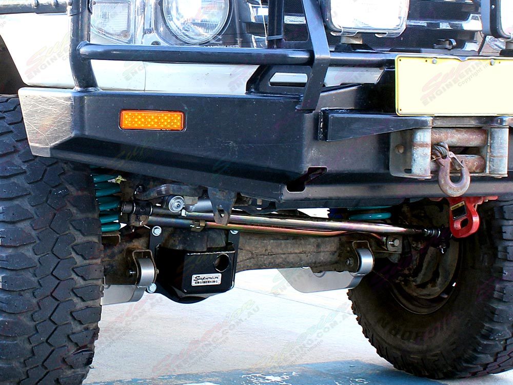 Front under vehicle suspenson components fitted to the Toyota Landcruiser 78 Series 4WD