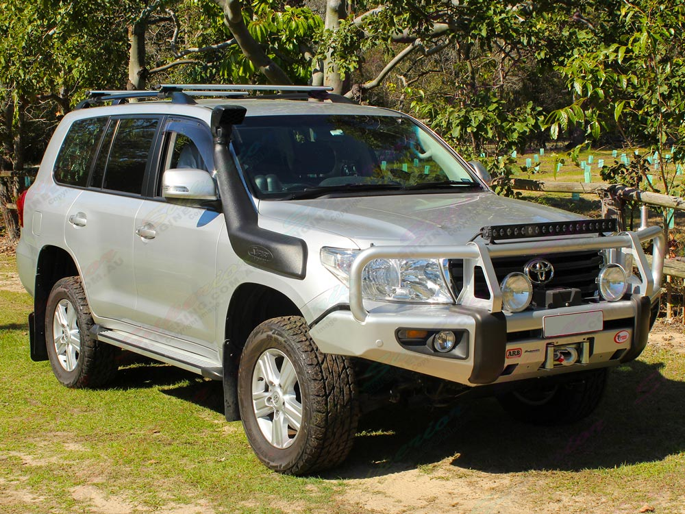 Front right view of a 200 Series Toyota Landcruiser after being fitted with a premium 2 inch Profender 4x4 lift kit
